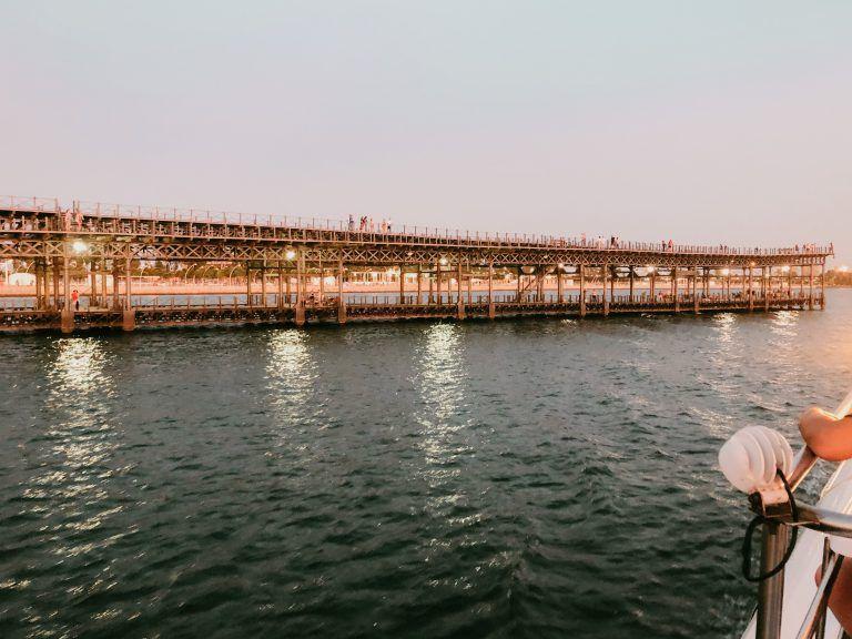 Vista del Muelle del Tinto en la llegada de la Canoa a Huelva