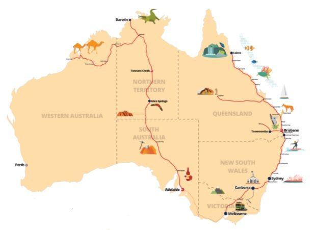 Viajar por Australia en autobús, mapas rutas Greyhound